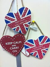 Keep Calm Carry On Drink Tea Hanging Heart Plaques Wooden Red Stocking Filler