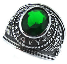 Emerald Green Stone US Navy Military Silver Stainless Steel Mens Ring