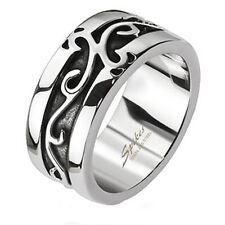 Stainless Steel Embossed Vines Cast Band Ring Size 6-10