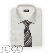 Boys Cream Shirt Tie set for Formal Prom Pageboy Wedding Suits