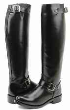New Raven Womens Engineer Motorcycle Leather Police Black Boots Buckle All Sizes