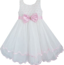 Flower Girl Dress White Pearl Rose Bow Tie Wedding Pageant Layers Size 2-10