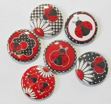 """Red Ladybug Flatback - Pin Back Buttons 1"""" for Bows Embellishments Scrapbook"""