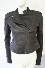 BNWT Ladies Womens Full Circle Valkyrie Black Brown Leather Jacket, Size 8 10