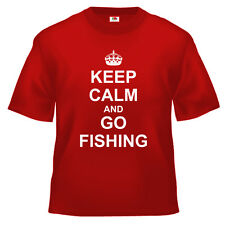 Funny Keep Calm and Go Fishing T Shirt 100% cotton all sizes and colours