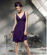 Manual Customized Sexy Halter Backless Deep V Purple Party Mid-Length Dress