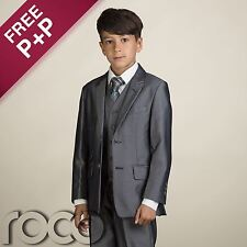 Boys Grey Suit, Boys Page Boy Outfit, Boys 3 piece Suits, Boys Grey Wedding Suit