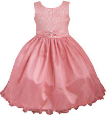 Pageant Flower Girl Dress Coral Multi-layers Diamond Wedding Size 2-12 Formal