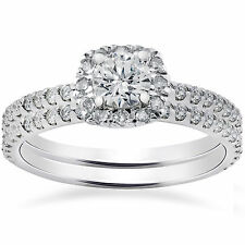 1.15CT Cushion Halo Round Diamond Engagement Ring Wedding Set 14 KT White Gold