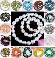 7-8mm Cultured Rice Oval Fresh Water Pearl Loose Freeform DIY Bead