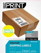 "MADE IN USA Best Print 8.5"" x 5.5""  White Self Adhesive Shipping Labels 80202100"