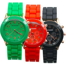HOT WOMEN MEN COUPLE GENEVA SILICONE JELLY GEL QUARTZ ANALOG SPORTS WRIST WATCH