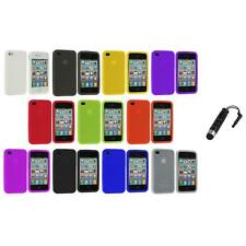 For iPhone 4S 4G 4 Silicone Rubber Color Soft Skin Case Cover+Stylus Plug