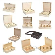 Plain wooden storage boxes -removable compartments for beads, fishing tackle tea