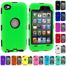 DELUXE COLOR BLACK HARD/SOFT CASE COVER FOR IPOD TOUCH 4 4G 4TH GEN+PROTECTOR