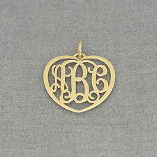 Small 14k Solid Gold 3 Initials Heart Monogram Pendant Charm 3/4 inch wide GM51
