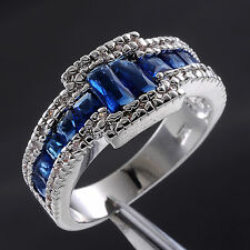 Jenny G Jewelry Size 8-11 Nice Men's Blue Sapphire 10KT White Gold Filled Ring