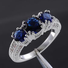 Size 6-10 Brand Jewelry Ladys Three-stone Sapphire 10KT White Gold Filled Ring