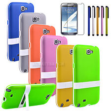 TPU Soft Back Case Cover with Stand + Film For Samsung Galaxy Note 2 II N7100