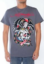 NEW Ed Hardy Men's Charcoal Short Sleeve Tee Shirt BATTLE RHINESTONES All Sizes