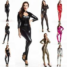 3 Colors STYLES Wetlook One Shoulder Catsuit /w Gloves Stripper Wear @DS1187b