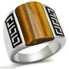 Mens Domed Smoked Tiger Eye Stone Silver Stainless Steel Ring