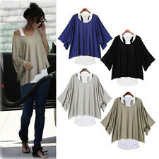 Women loose bat sleeve asymmetry hem blouse tight t-shirts shirt vest tank Top