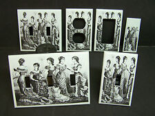 VICTORIAN LADIES BLACK AND WHITE IMAGE 1  LIGHT SWITCH COVERS PLATE AND OUTLETS