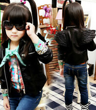 2014 Cool Baby Toddler Boys Girls Faux Leather Back Angel-Wing Coat Kids Jacket