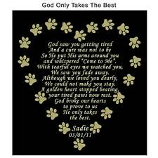 GOD ONLY TAKES THE BEST Pet Memorial Name Plate Dog Cat