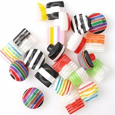 120/600pcs 250223 New Colorful Stripe Round Resin Charms Mixed Sew-on Buttons
