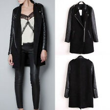 Ladies Fashion Trench Coat Women Faux Leather Sleeves Stand-up Collar Zip Jacket
