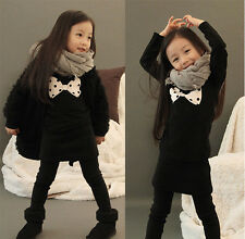 New Toddlers Girls Cute Bow Thick Cotton Fleece Lined Dress Top Long 3-7 Y T089