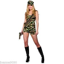 LADIES SEXY BOOTCAMP BABE ARMY SOLDIER CAMOUFLAGE FANCY DRESS MILITARY COSTUME