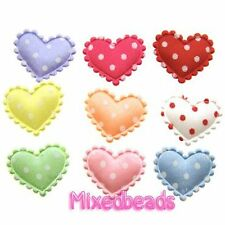 "*U PICK* 90-100 Satin Polka Dot 3/4"" Heart Lace Edge Padded Applique hair fabric"