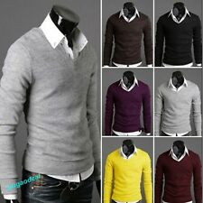 Men's Autumn Winter Slim V-Neck Sweaters Jumpers Tops Cardigans 6 color