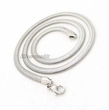 "4MM 6MM 8MM 18""-30"" Silver Flat Snake Stainless Steel Chain Necklace FS#238"