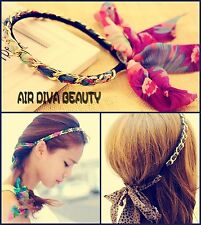 Women Girls Boho Bohemian braided Chiffon leopard Chain bow tie Hair Head band