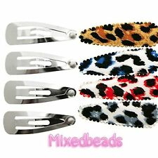 *U PICK* 30-40 Set Leopard Animal Print Cover 2 1/8 fabric 55mm+Hair Clip 1 3/4