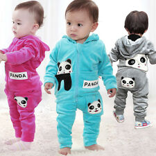 Baby Toddler Panda Hoodies Outerwear Top+ Pant Boy Girl Children Clothing Set