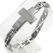 "Stainless Steel 8.25"" Men's Personalized Cross Link Bracelet FREE ENGRAVING"