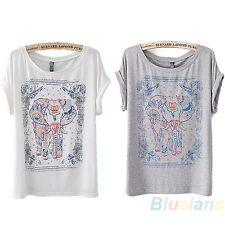 Womens Fashion Short Sleeve Elephant Printed Vintage Girl Crewneck T-Shirt BF5U