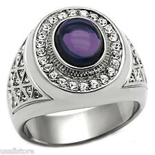 Mens Drak Purple Dome Stone Silver Stainless Steel Ring