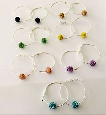 SPARKLY SHAMBALLA CRYSTAL HOOP EARRINGS -1 ROUND 10mm CLAY CZECH CRYSTAL  - NEW