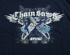 STIHL Officially Licensed Apparel Navy Blue Long Sleeve Chainsaw Cross T-Shirt