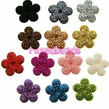 "*U PICK* 100-130 Glitter Flower 1/2"" applique padded fabric scrapbook hair craft"