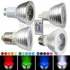 3W RGB E27 GU10 MR16 LED Spot Light Bulb Lamp Color Change Downlight + IR Remote