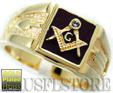 Mens Square Black Masonic Mason Crystal Stone 18kt Gold Plated Ring