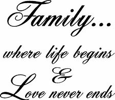 Family Where Life Begins And Love Never Ends Vinyl Wall Quote Decal Decor 99005