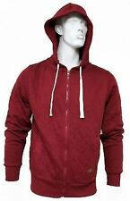 Mens Holmes & Co Panel Beater Red Quilted Zip-Up Jacket Hoody, Size Medium